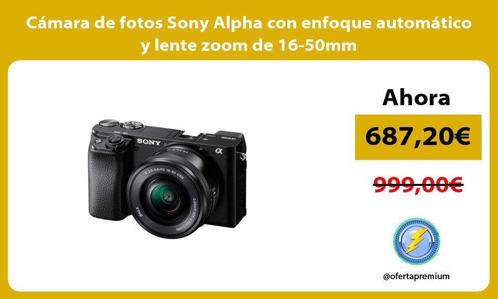 Cámara de fotos Sony Alpha con enfoque automático y lente zoom de 16 50mm