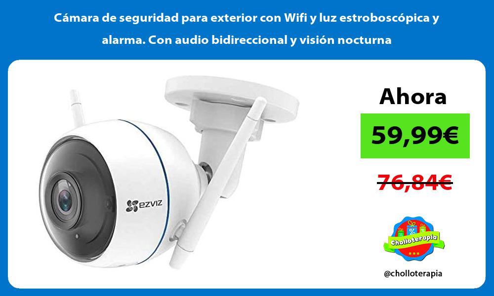 Cámara de seguridad para exterior con Wifi y luz estroboscópica y alarma Con audio bidireccional y visión nocturna