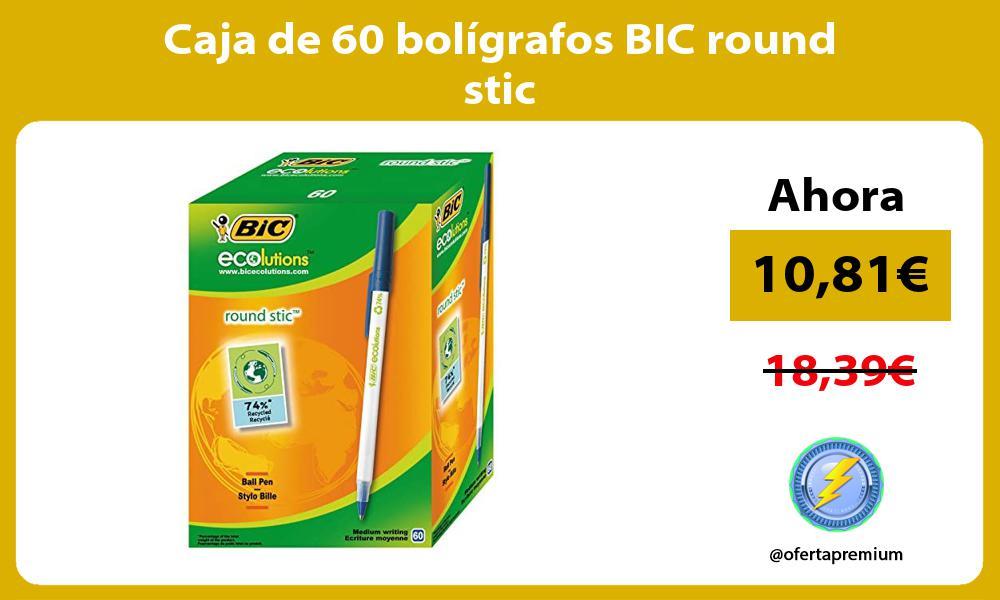 Caja de 60 bolígrafos BIC round stic