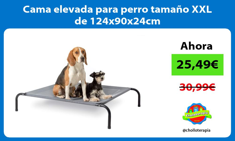 Cama elevada para perro tamaño XXL de 124x90x24cm