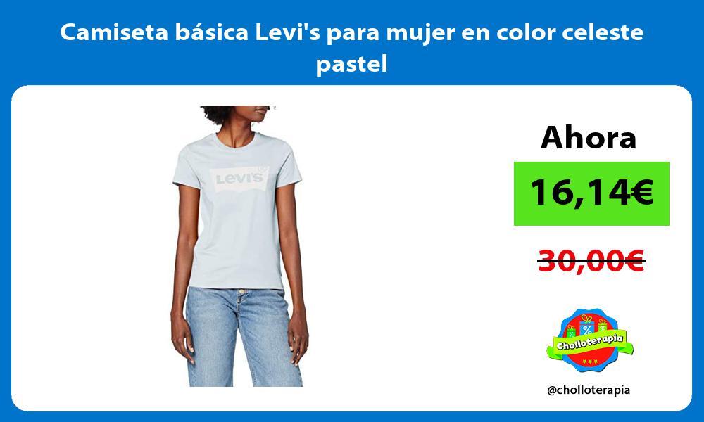 Camiseta básica Levis para mujer en color celeste pastel