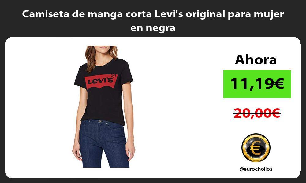 Camiseta de manga corta Levis original para mujer en negra