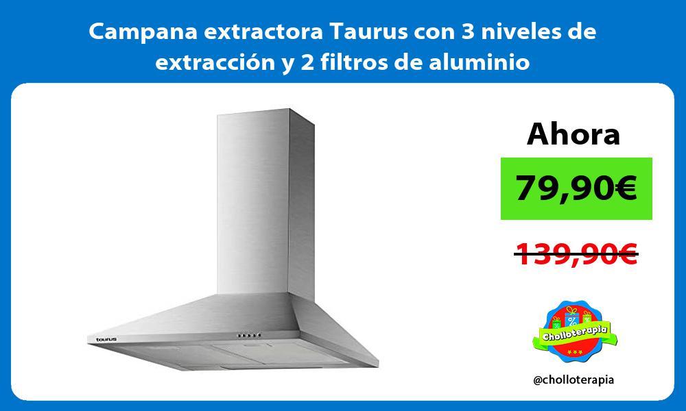 Campana extractora Taurus con 3 niveles de extracción y 2 filtros de aluminio