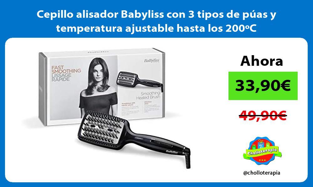 Cepillo alisador Babyliss con 3 tipos de púas y temperatura ajustable hasta los 200ºC