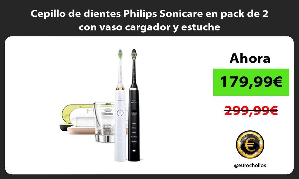 Cepillo de dientes Philips Sonicare en pack de 2 con vaso cargador y estuche