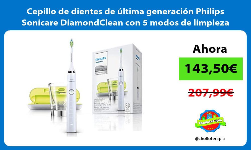 Cepillo de dientes de última generación Philips Sonicare DiamondClean con 5 modos de limpieza