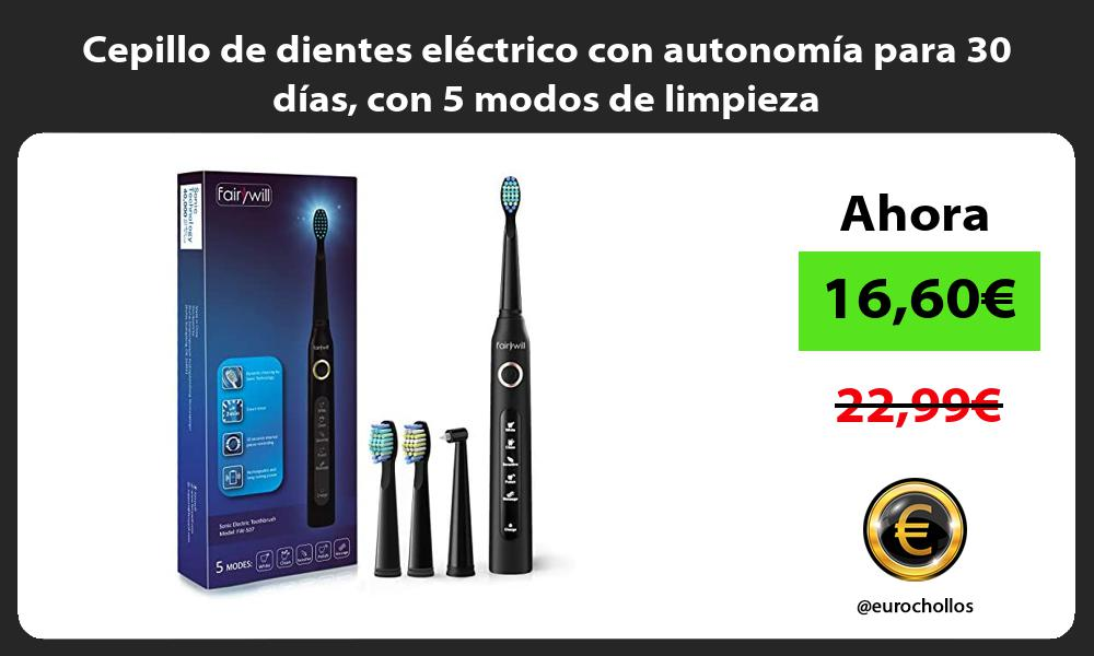 Cepillo de dientes eléctrico con autonomía para 30 días con 5 modos de limpieza