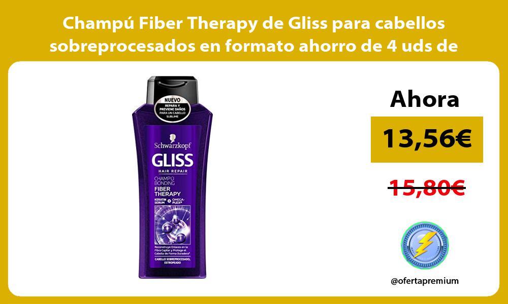 Champú Fiber Therapy de Gliss para cabellos sobreprocesados en formato ahorro de 4 uds de 400ml