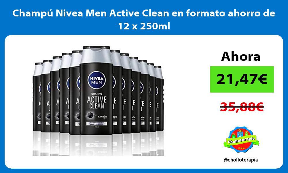 Champú Nivea Men Active Clean en formato ahorro de 12 x 250ml