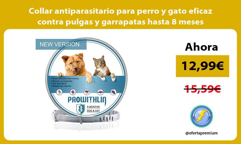 Collar antiparasitario para perro y gato eficaz contra pulgas y garrapatas hasta 8 meses