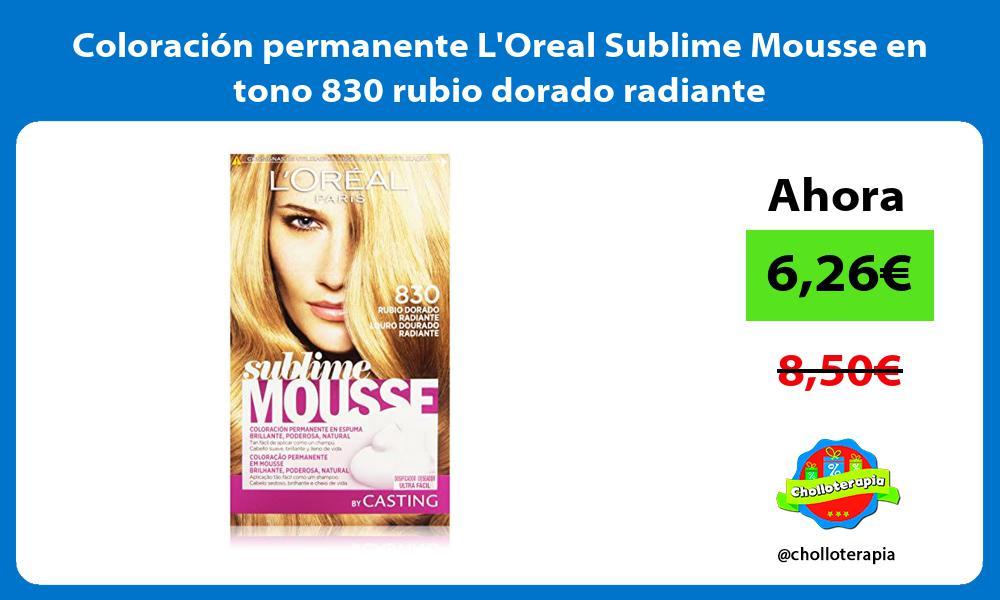 Coloración permanente LOreal Sublime Mousse en tono 830 rubio dorado radiante