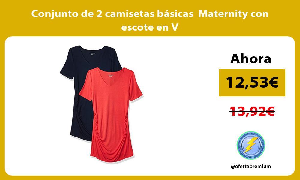 Conjunto de 2 camisetas básicas Maternity con escote en V