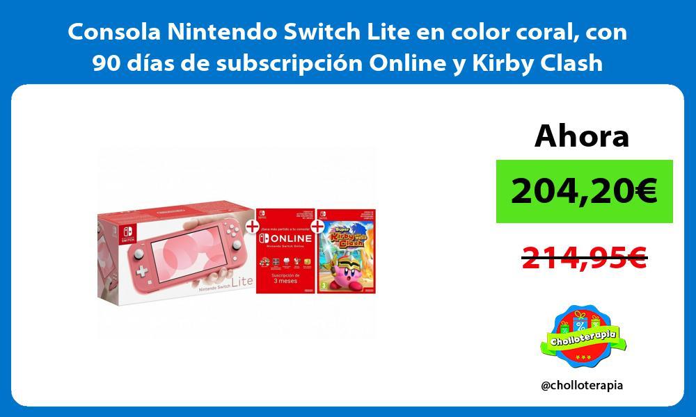 Consola Nintendo Switch Lite en color coral con 90 días de subscripción Online y Kirby Clash