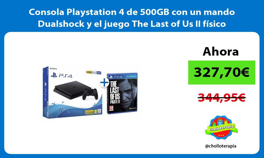 Consola Playstation 4 de 500GB con un mando Dualshock y el juego The Last of Us II físico