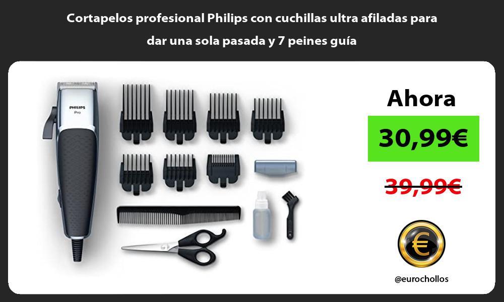 Cortapelos profesional Philips con cuchillas ultra afiladas para dar una sola pasada y 7 peines guía