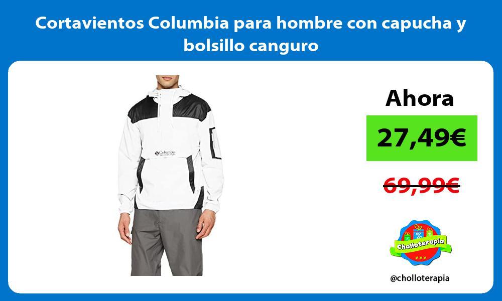Cortavientos Columbia para hombre con capucha y bolsillo canguro