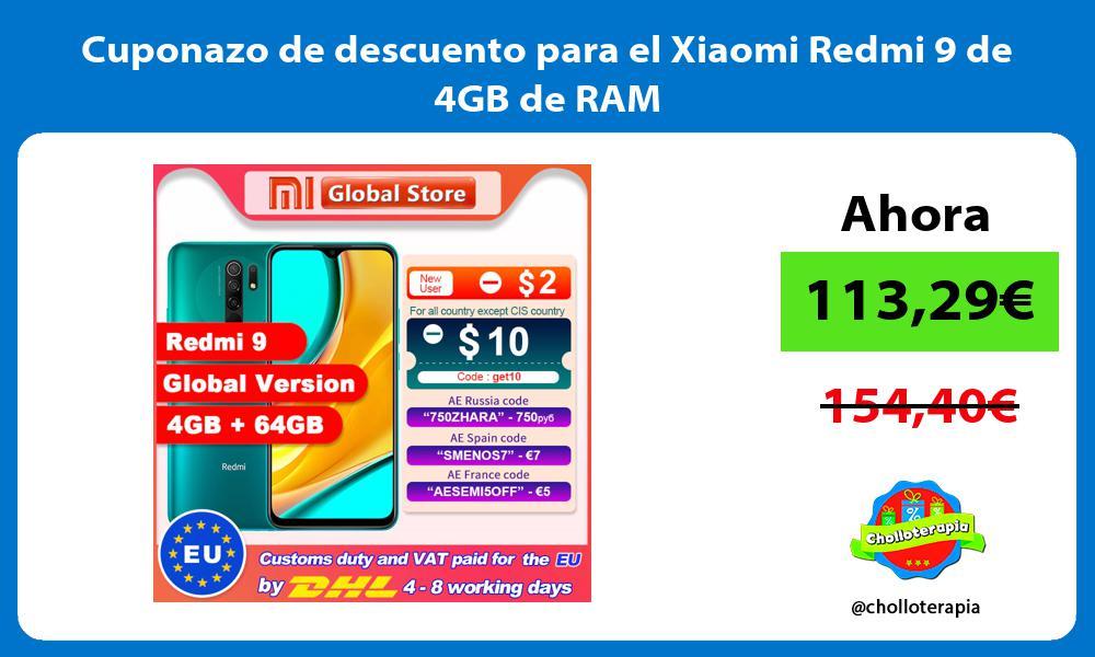 Cuponazo de descuento para el Xiaomi Redmi 9 de 4GB de RAM