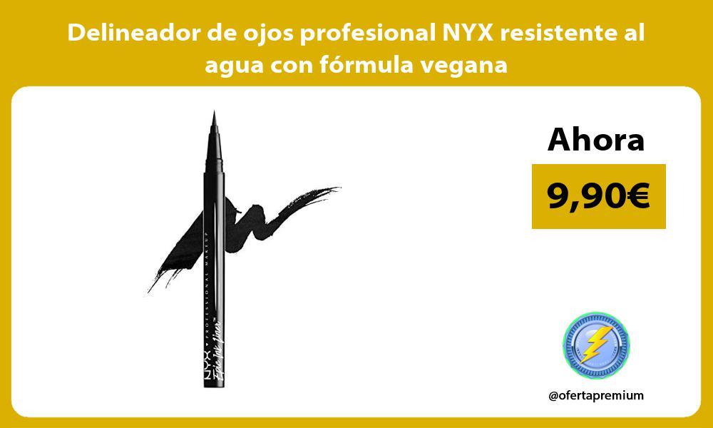 Delineador de ojos profesional NYX resistente al agua con fórmula vegana