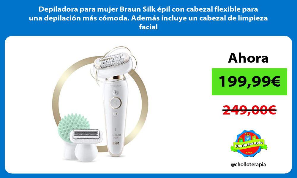 Depiladora para mujer Braun Silk épil con cabezal flexible para una depilación más cómoda Además incluye un cabezal de limpieza facial