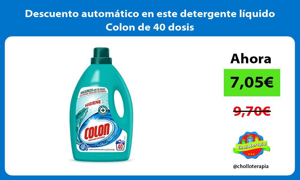 Descuento automático en este detergente líquido Colon Higiene de 40 dosis