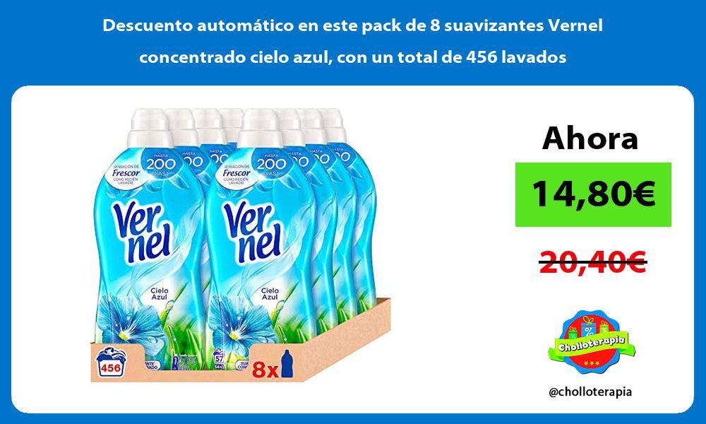 Descuento automático en este pack de 8 suavizantes Vernel concentrado cielo azul con un total de 456 lavados