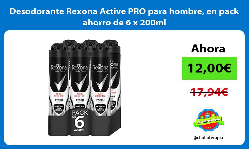 Desodorante Rexona Active PRO para hombre en pack ahorro de 6 x 200ml