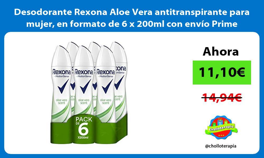 Desodorante Rexona Aloe Vera antitranspirante para mujer en formato de 6 x 200ml con envío Prime