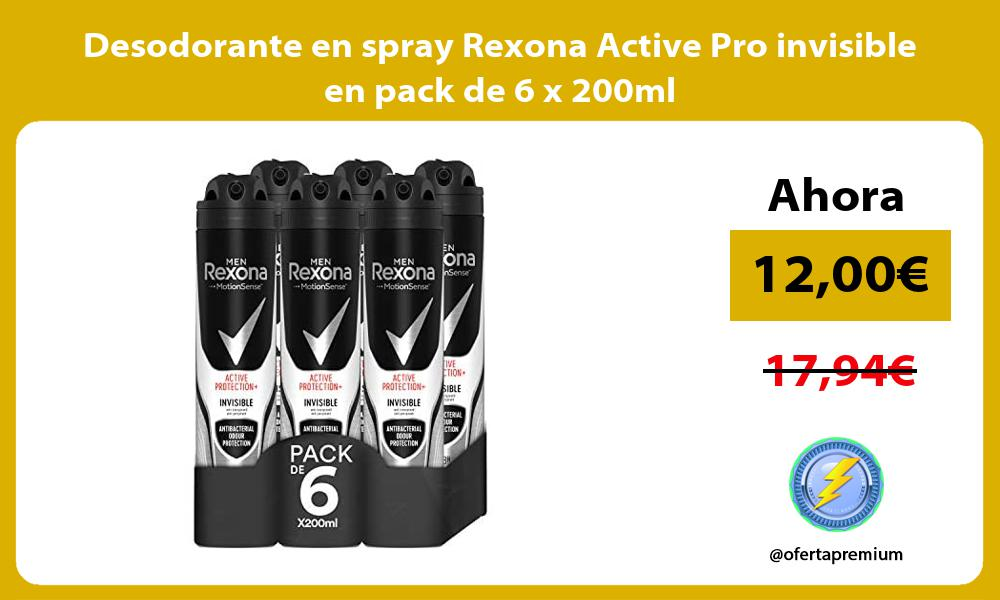Desodorante en spray Rexona Active Pro invisible en pack de 6 x 200ml