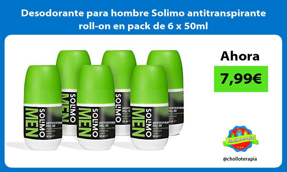 Desodorante para hombre Solimo antitranspirante roll on en pack de 6 x 50ml