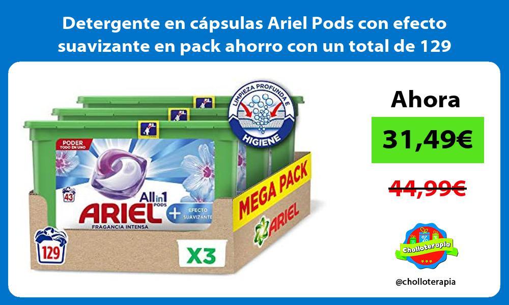 Detergente en cápsulas Ariel Pods con efecto suavizante en pack ahorro con un total de 129 dosis