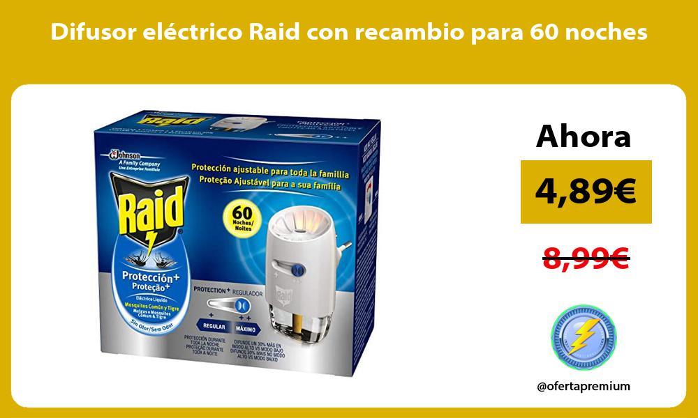 Difusor eléctrico Raid con recambio para 60 noches
