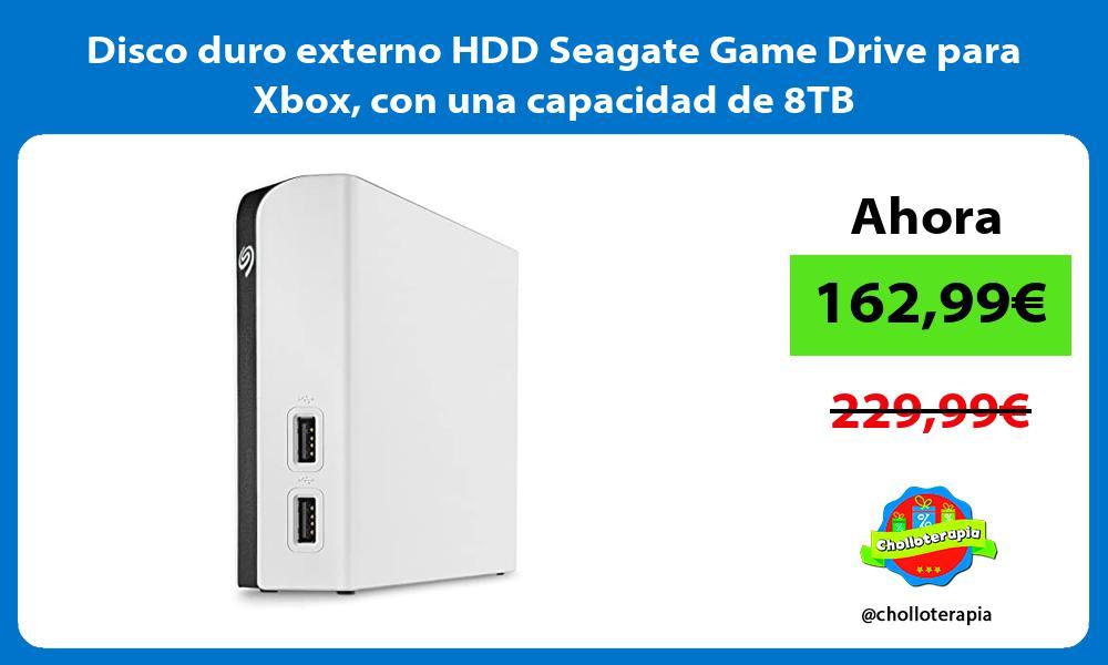 Disco duro externo HDD Seagate Game Drive para Xbox con una capacidad de 8TB