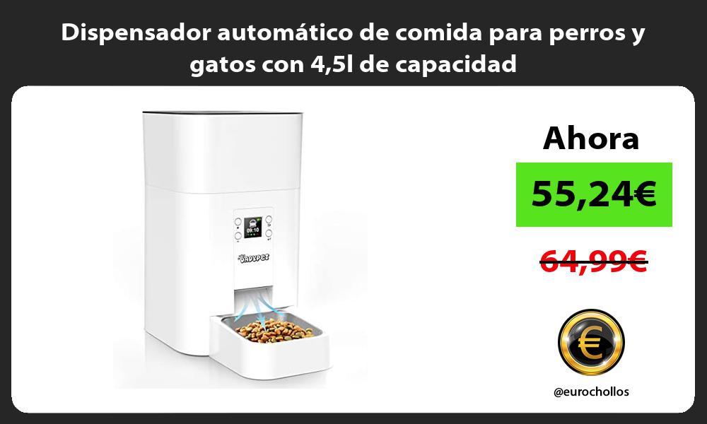Dispensador automático de comida para perros y gatos con 45l de capacidad