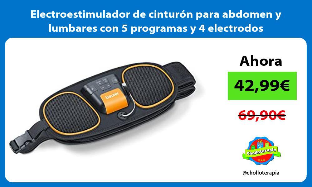 Electroestimulador de cinturón para abdomen y lumbares con 5 programas y 4 electrodos