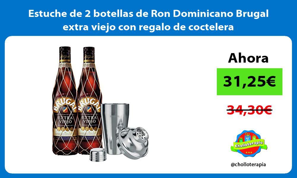 Estuche de 2 botellas de Ron Dominicano Brugal extra viejo con regalo de coctelera