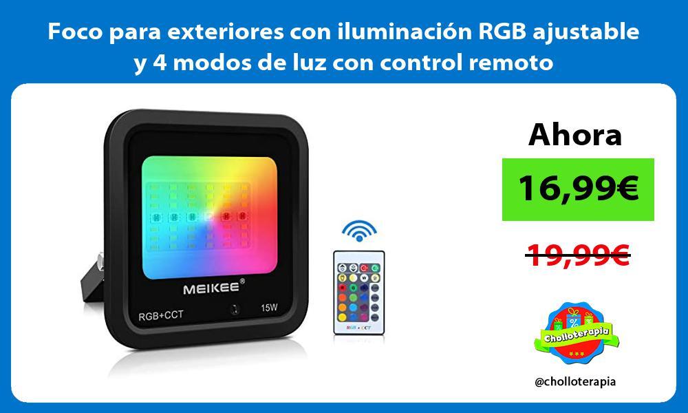 Foco para exteriores con iluminación RGB ajustable y 4 modos de luz con control remoto