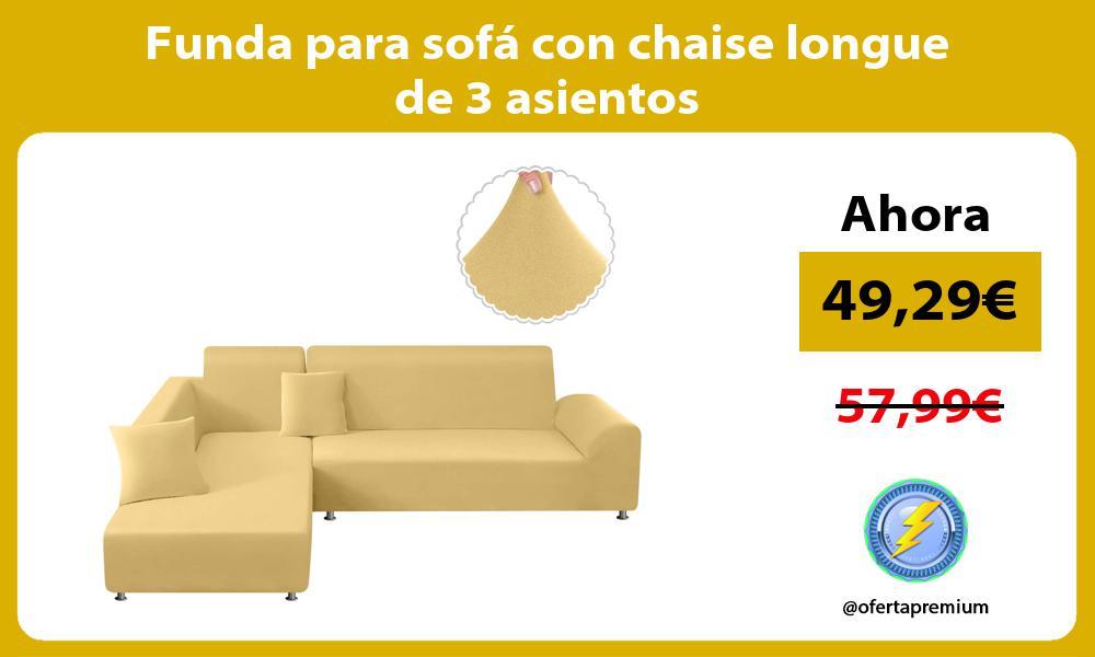 Funda para sofá con chaise longue de 3 asientos