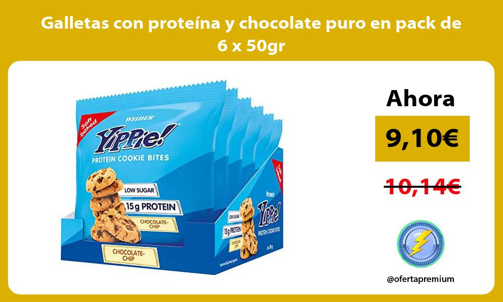 Galletas con proteína y chocolate puro en pack de 6 x 50gr