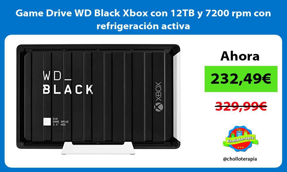Game Drive WD Black Xbox con 12TB y 7200 rpm con refrigeración activa