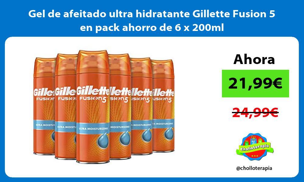 Gel de afeitado ultra hidratante Gillette Fusion 5 en pack ahorro de 6 x 200ml