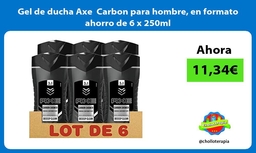 Gel de ducha Axe Carbon para hombre en formato ahorro de 6 x 250ml