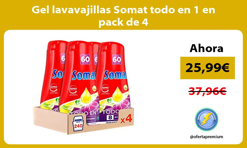 Gel lavavajillas Somat todo en 1 en pack de 4