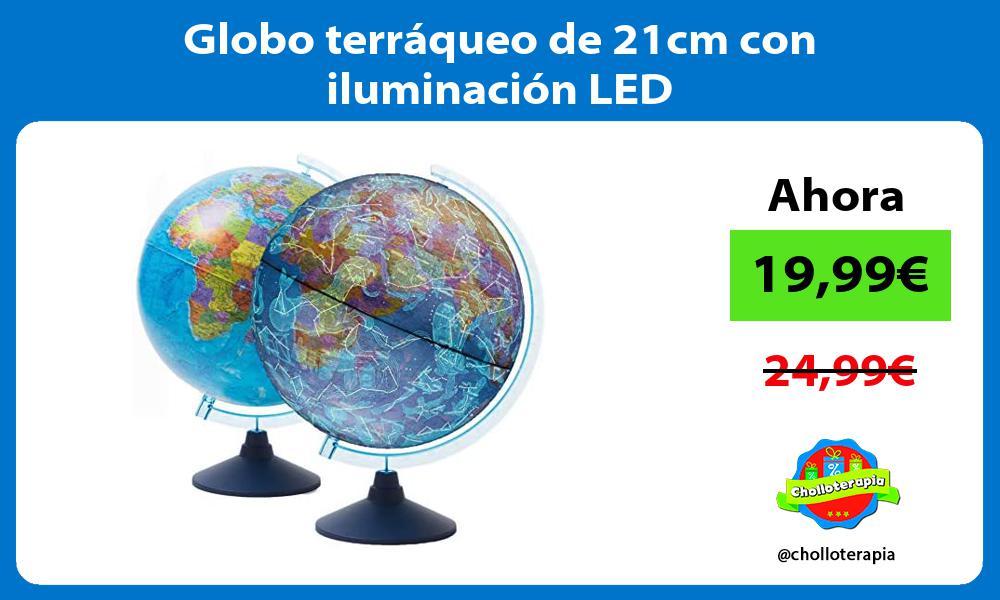 Globo terráqueo de 21cm con iluminación LED