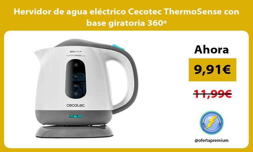 Hervidor de agua eléctrico Cecotec ThermoSense con base giratoria 360º