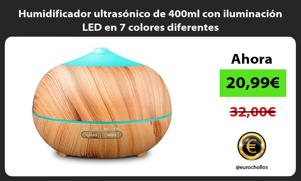 Humidificador ultrasónico de 400ml con iluminación LED en 7 colores diferentes