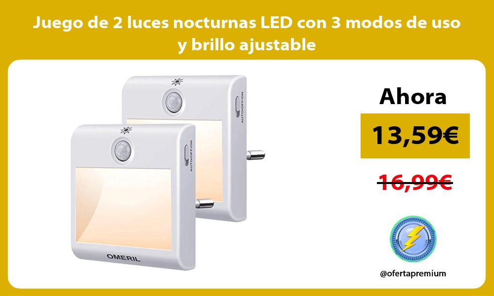 Juego de 2 luces nocturnas LED con 3 modos de uso y brillo ajustable