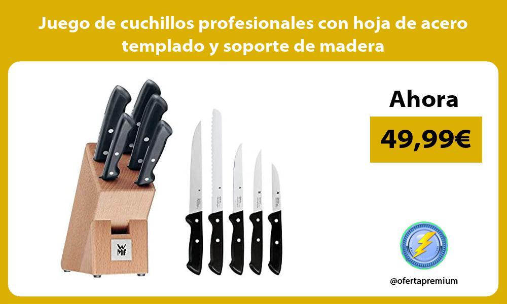 Juego de cuchillos profesionales con hoja de acero templado y soporte de madera