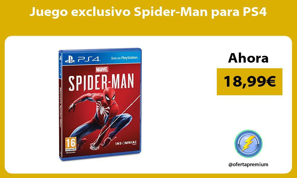 Juego exclusivo Spider Man para PS4