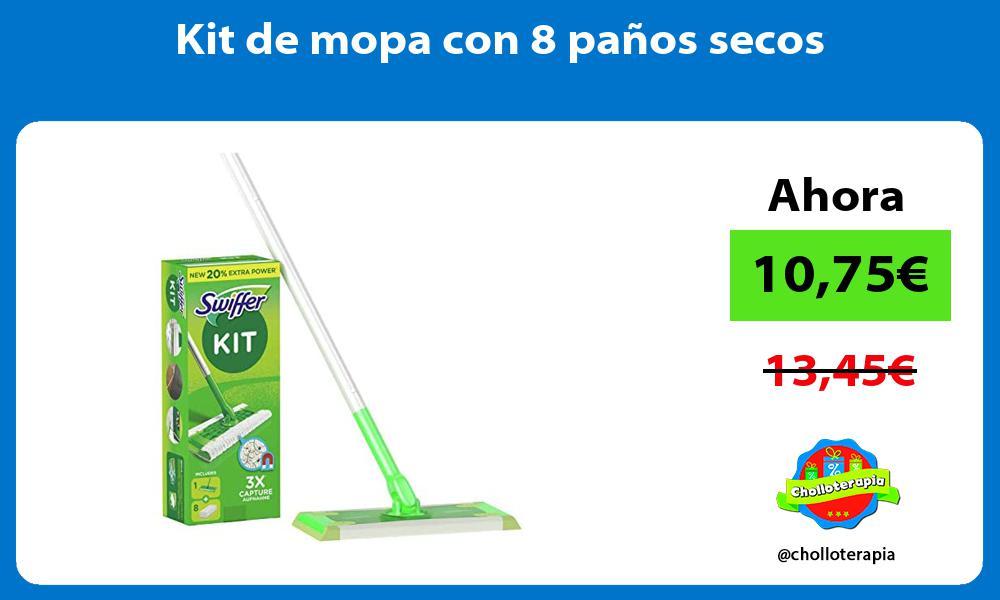 Kit de mopa con 8 paños secos