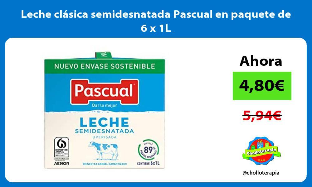 Leche clásica semidesnatada Pascual en paquete de 6 x 1L